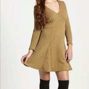 FREE PEOPLE GOLD BROWN COMBO DRESS